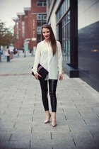 black asos leggings - H&M shoes - white River Island shirt - black bag