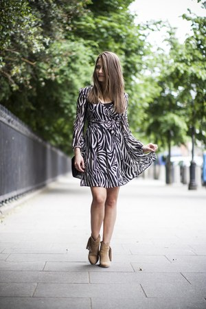 tan boots - Zara dress