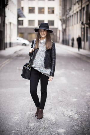 black skinny jeans jeans - brown suede boots Primark boots