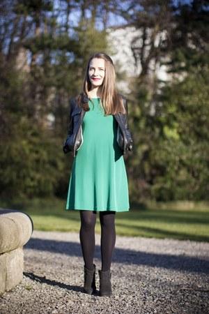 black River Island boots - green Zara dress