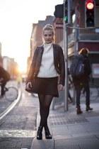 black H&M boots - black leather jacket - black bucket bag bag