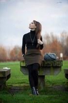 black H&M boots - dark green Zara skirt - black rollneck Primark top