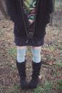 Dark-gray-mini-dress-drop-dead-dress-black-fir-demonia-boots