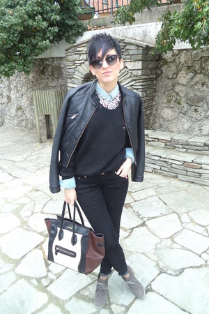 black H&M jacket - light blue Stradivarius shirt - dark khaki Migato heels