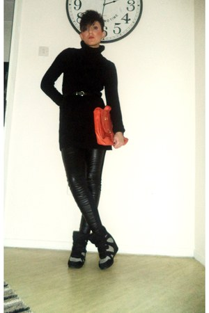 black Stradivarius dress - black Bershka leggings - orange H M bag