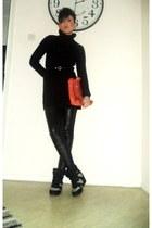 black Stradivarius dress - black Bershka leggings - orange H M bag