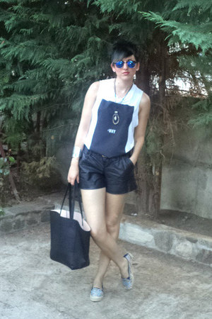 black H M shorts - ivory Zara blouse - blue rey ban glasses