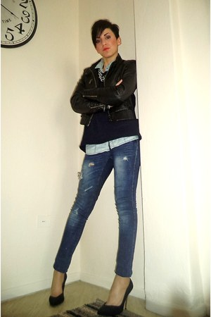navy Stradivarius jeans - black Bershka jacket - sky blue Stradivarius shirt