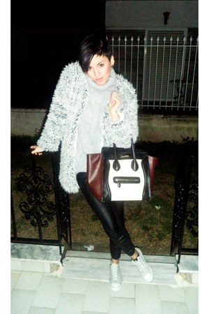 crimson Celine bag - white All star shoes - silver H M dress