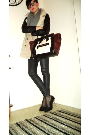 dark brown Celine bag - eggshell Pull&ampBear coat - black Bershka pants