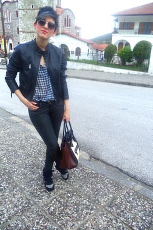 black Bershka jacket - heather gray Combo sneakers - black H M pants