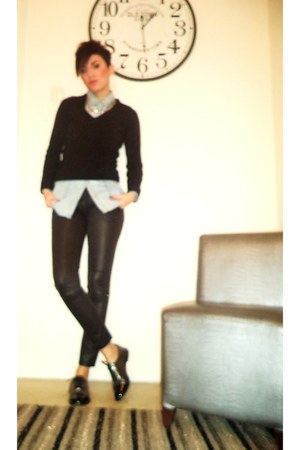 black Bershka pants - sky blue Stradivarius shirt - black Zara blouse