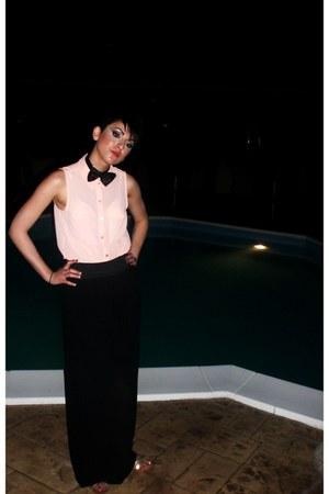 black menfashion accessories - peach H&M shirt - black bazooka style pants