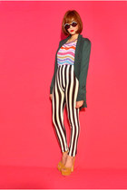 striped leggings leggings - emerald green long cardigan blazer