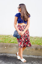brick red floral midi Forever 21 skirt - navy crop Marshalls top