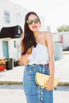 sky blue denim Forever 21 skirt - yellow clutch asos bag