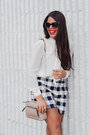 Navy-plaid-zara-shorts-ivory-bow-zara-top-silver-metallic-zara-heels