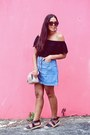 Black-pacsun-top-sky-blue-zara-skirt