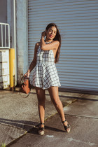 ivory plaid Tobi romper - brown Zara bag - navy asos sunglasses