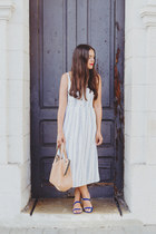 light blue midi Old Navy dress - neutral Zara bag - navy Zara flats
