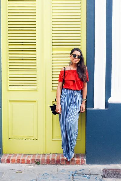brick red off shoulder Zara top - black asos bag