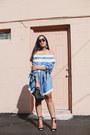 Sky-blue-off-shoulder-agaci-dress-black-h-m-bag-black-lace-up-agaci-heels
