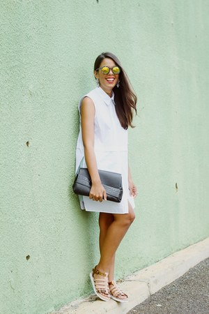 white sleeveless Forever 21 shirt - nude flatform BeauAshe sandals