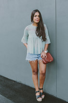 light blue tulle Zara blouse - black espadrille Pull & Bear sandals