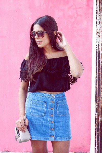 black PacSun top - sky blue Zara skirt