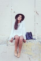 navy Zara bag - nude ankle PacSun boots - ivory Zara blouse