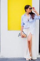 light blue striped Forever 21 shirt - off white Zara skirt