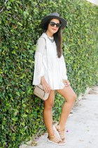 tan Forever 21 bag - ivory Zara top - brown Shoedazzle flats