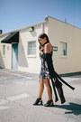 Black-ankle-agaci-boots-black-velvet-agaci-dress-black-agaci-cardigan