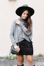 black fringed Zara skirt - forest green wide brim asos hat