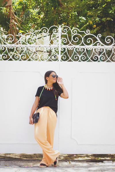 orange baublebar necklace - black Zara t-shirt - light orange palazzo Zara pants