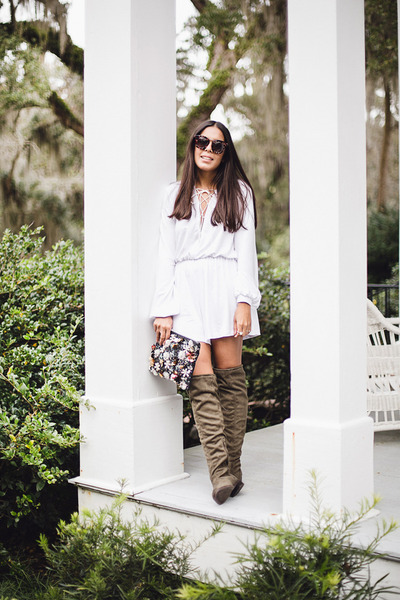 army green over the knee Shoedazzle boots - light blue clutch asos bag