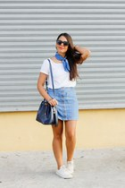 navy Zara scarf - white Zara top - navy denim Zara skirt