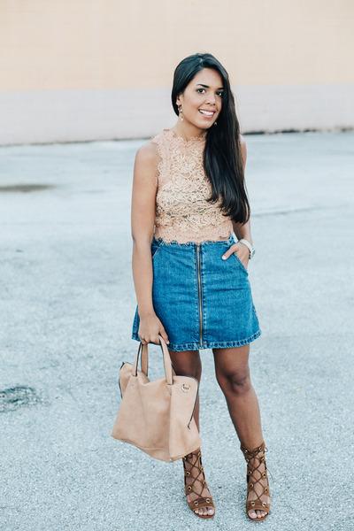 neutral lace Zara top - navy Zara skirt - silver Nicole Vienna watch