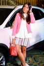White-zara-shirt-navy-baublebar-necklace-pink-zara-skirt