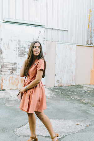 burnt orange wrap Tobi dress