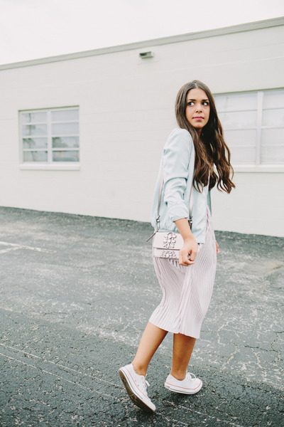 light blue bomber Zara jacket - light pink pleated Zara skirt