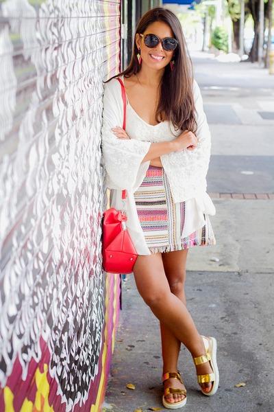 off white lace Zara top - off white kimono Zara cardigan - pink aztec Zara skirt