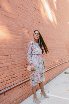 light pink floral Zara dress - light pink Zara bag