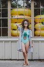 Sky-blue-striped-dress-zara-dress-aquamarine-pineapple-print-swimwear