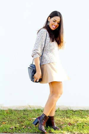 beige Zara sweater - tan faux leather Forever 21 skirt