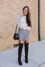 Dark-brown-shoedazzle-boots-navy-zara-skirt-off-white-zara-blouse