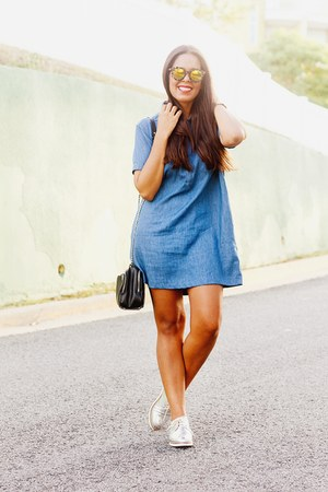 navy denim Forever 21 dress - silver loafers Forever 21 shoes
