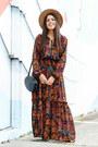 Burnt-orange-floral-h-m-dress-tan-forever-21-hat-black-zara-purse