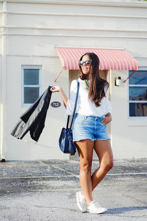 light blue denim Zara shorts - black faux leather gypsy warrior jacket