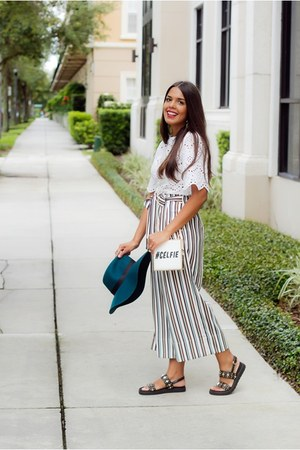 white lace Zara top - forest green culottes Zara pants